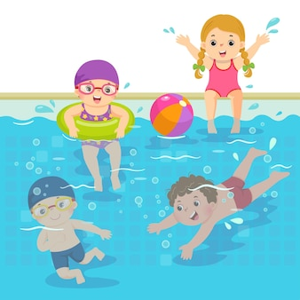 Ilustracja kreskówka szczęśliwych dzieci pływających w basenie.