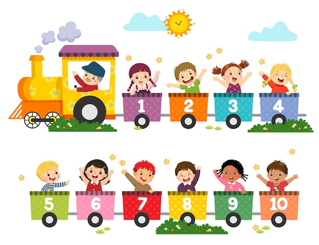 Ilustracja kreskówka szczęśliwych dzieci w wieku przedszkolnym z numerami pociągów. karta do nauki liczb.