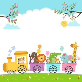 Ilustracja kreskówka szczęśliwych zwierząt w pociągu.