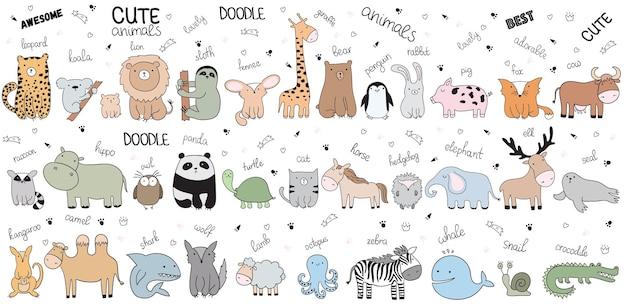 Ilustracja kreskówka szkic wektor z cute doodle zwierząt