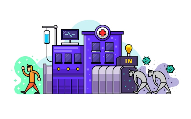 Ilustracja kreskówka szpitala