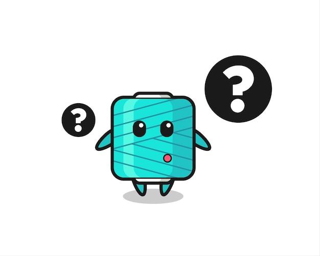 Ilustracja kreskówka szpuli przędzy ze znakiem zapytania, ładny styl projektowania koszulki, naklejki, elementu logo