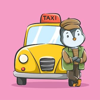 Ilustracja kreskówka taksówkarza ładny pingwina