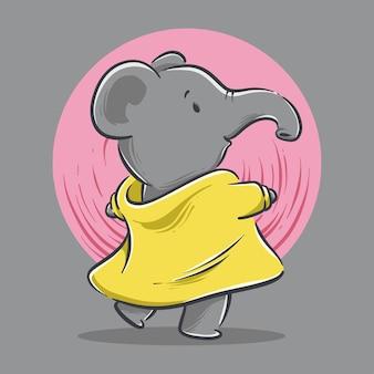 Ilustracja kreskówka taniec ładny mały słoń