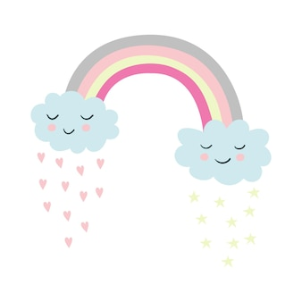 Ilustracja kreskówka tęczowe gwiazdy chmury serca śliczne ilustracje wektorowe dla dzieci