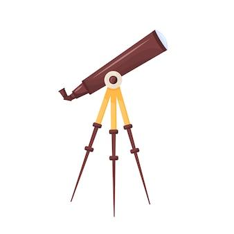 Ilustracja kreskówka teleskopu planetarium narzędzie do wyszukiwania konstelacji szpiegowanie szkła na statywie płaski obiekt koloru przyrząd do obserwacji nieba nocnego na białym tle