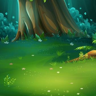 Ilustracja kreskówka tła leśnej polany. do projektowania gier, stron internetowych i telefonów komórkowych, drukowania.