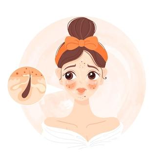 Ilustracja kreskówka tłustej skóry z kobietą