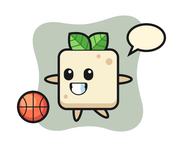 Ilustracja kreskówka tofu gra w koszykówkę, ładny styl na koszulkę