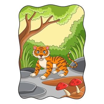 Ilustracja kreskówka tygrys stoi na dużej skale pod drzewem