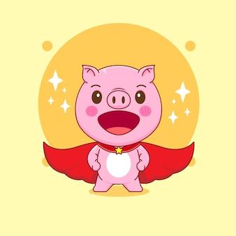 Ilustracja kreskówka uroczej świni z peleryną jako superbohatera