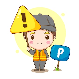 Ilustracja kreskówka usługi parkingowego ze znakiem ostrzegawczym