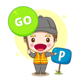 Ilustracja kreskówka usługi parkowania samochodu ze znakiem go
