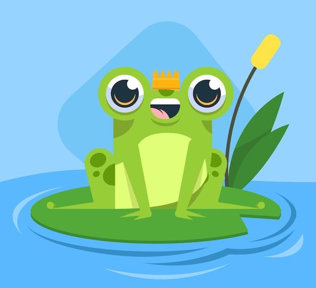 Ilustracja kreskówka uśmiechniętą żabę