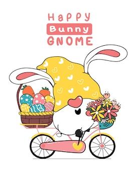 Ilustracja kreskówka uszy królika wielkanoc gnome