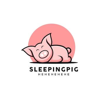 Ilustracja kreskówka w stylu słodkiej świni