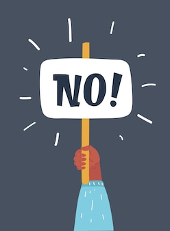 Ilustracja kreskówka wektor brak wyboru odpowiedzi, człowiek ręka trzyma afisz bez znaku, osoba mówi, że nie ma głosu.