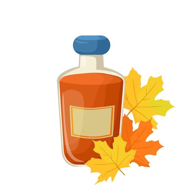 Ilustracja kreskówka wektor butelkę syropu klonowego.