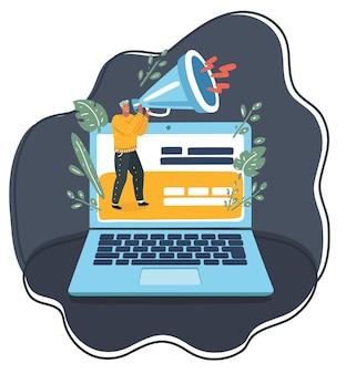Ilustracja kreskówka wektor człowieka ręki trzymającej megafon wychodzi z laptopa. koncepcja marketingu cyfrowego, promocji i reklamy. mały człowiek i duży laptop.