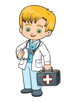 Ilustracja kreskówka wektor dla dzieci, lekarz pogotowia z apteczką pierwszej pomocy