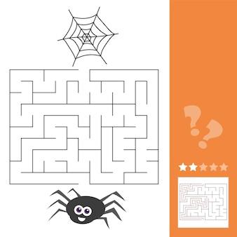 Ilustracja kreskówka wektor edukacji labirynt lub labirynt gra aktywności dla dzieci z charakterem pająka owada i jego sieci web