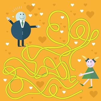 Ilustracja kreskówka wektor edukacji labirynt lub labirynt gry dla dzieci w wieku przedszkolnym