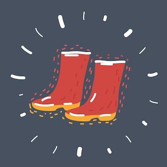 Ilustracja kreskówka wektor gumowe buty ikona na białym tle na ciemnym tle. wędkowanie, jesień, jesień symbol.