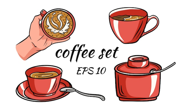 Ilustracja kreskówka wektor jakiejś filiżanki kawy pasuje do menu, etykiety, kolekcji i aktywów.