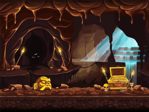 Ilustracja kreskówka wektor jaskini skarbów z wodospadem i skrzynią.