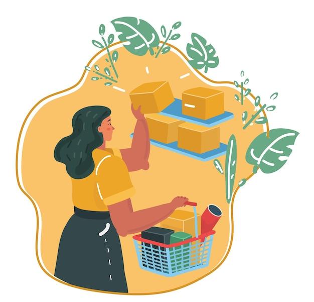 Ilustracja kreskówka wektor kobiet zakupy z koszem w jej ręce w sklepie, półki z towarami. sklep ekologiczny.