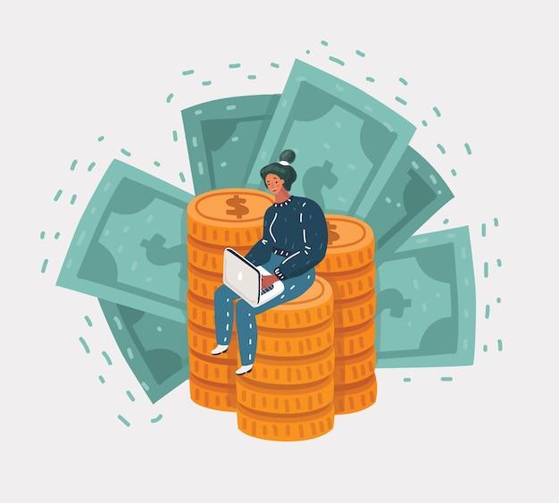 Ilustracja kreskówka wektor kobieta siedzi na wielkiej górze złotych monet i zielonych banknotów, współpracuje z laptopem. praca i freelance pojęcie na białym tle.
