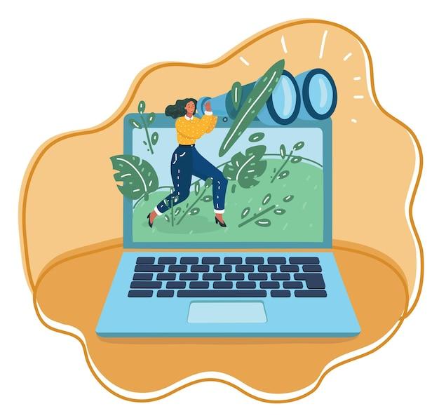 Ilustracja kreskówka wektor kontroli rodzicielskiej. drobna kobieta patrząca na lornetkę otoczoną folderem, laptopem, telefonem, rzeczami biznesowymi.