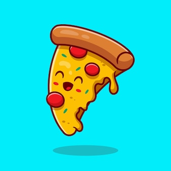 Ilustracja kreskówka wektor ładny pizza. koncepcja ikona fast food. płaski styl kreskówki