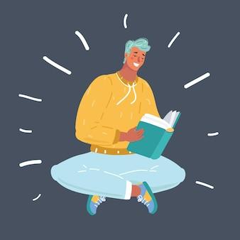Ilustracja kreskówka wektor młody człowiek trzyma książkę i ciesząc się czytaniem. ludzka postać w ciemności.