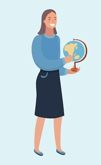 Ilustracja kreskówka wektor pięknej młodej kobiety trzymającej kulę ziemską w rękach. nowoczesna postać na białym tle.+