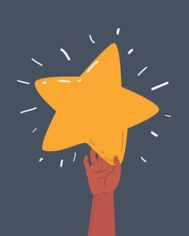 Ilustracja kreskówka wektor ręce trzymające złotą gwiazdę na ciemnym tle.+