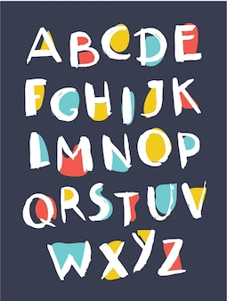Ilustracja kreskówka wektor ręcznie rysowane alfabetu. nieostrożny abc na ciemnym tle.