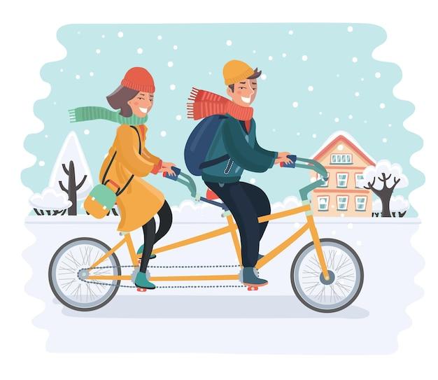 Ilustracja kreskówka wektor romantyczna para, jazda na rowerze tandem na ulicy miasta na tle śnieżnego krajobrazu. mężczyzna i kobieta jeżdżą rowerem w sezonie zimowym