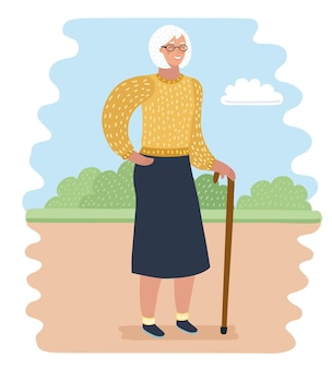Ilustracja kreskówka wektor starszej kobiety w parku z laską. odpoczynek i cisza na świeżym powietrzu.