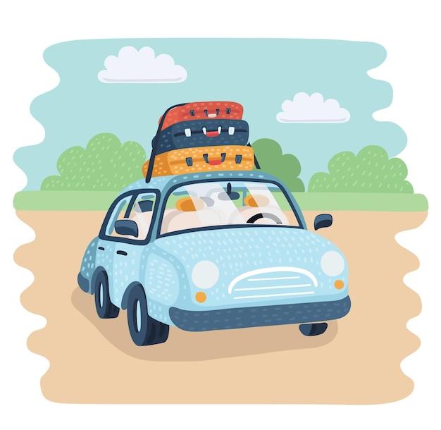 Ilustracja kreskówka wektor travel car parking na wsi. bagaż na rodzinny wyjazd. walizka na bagażniki na górze. podróż lub relokacja, migracja, koncepcja podróży. zabawny obiekt.+