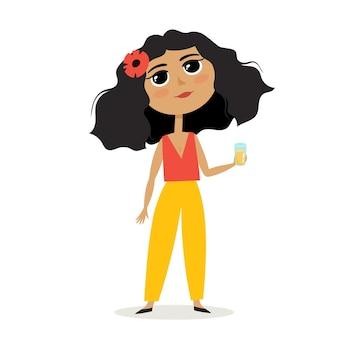 Ilustracja kreskówka wektor z cute mulat dziewczyna ze szklanką soku stojący na białym tle. dość stylowy dzieciak używany do czasopism, książek, naklejek, plakatów.