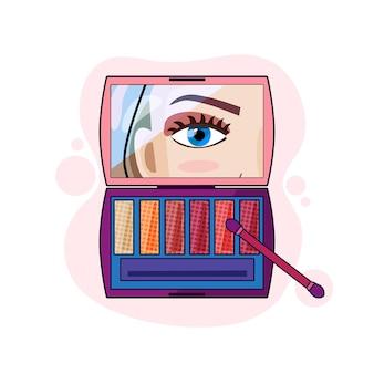 Ilustracja kreskówka wektor z paletą cieni do powiek na na białym tle. pojęcie makijażu, pozytywności, piękna i wellness.