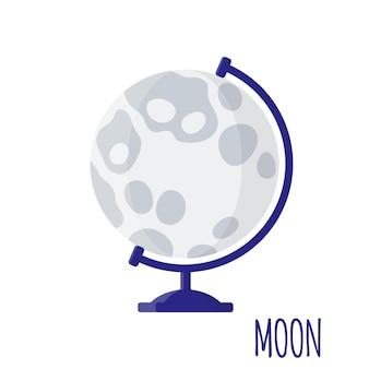 Ilustracja kreskówka wektor z pulpitu szkoły globus księżyca na białym tle. powrót do szkoły