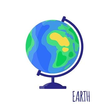Ilustracja kreskówka wektor z pulpitu szkoły globus ziemi na białym tle. powrót do szkoły