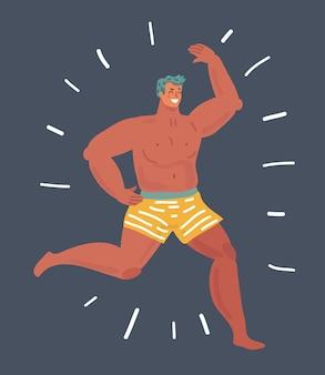 Ilustracja kreskówka wektor zabawny człowiek działa w krótkich spodenkach. kreskówka postać człowieka na ciemnym tle.