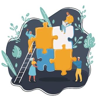 Ilustracja kreskówka wektor zespołu pracy koncepcyjnej. agencja pracy zespołowej. młody pracownik i nowy projekt firmy.+