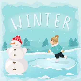 Ilustracja kreskówka wektor zima. zima, zaspy, opady śniegu. chłopiec jeździ na łyżwach, jest bałwan. zimowa zabawa w sylwestra lub wigilię. baner z napisem zima.