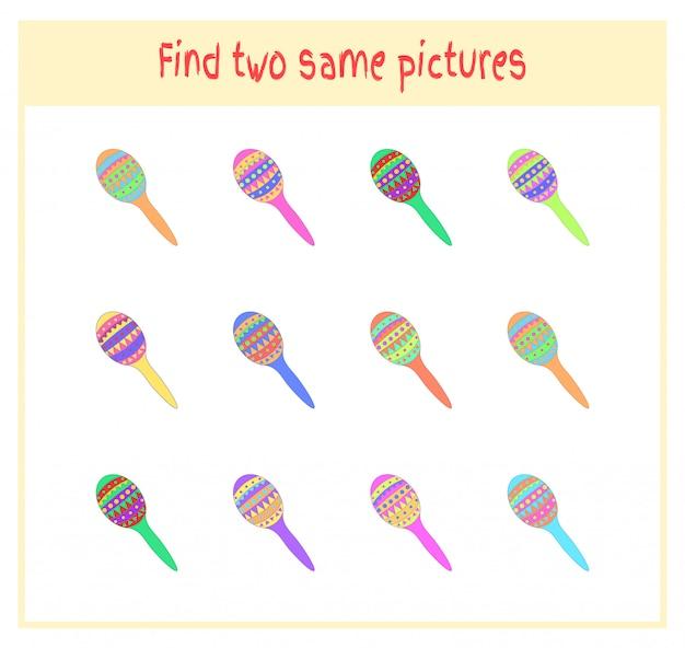 Ilustracja kreskówka wektor znalezienia dwóch dokładnie takich samych zdjęć działalność edukacyjna dla dzieci w wieku przedszkolnym z maraką