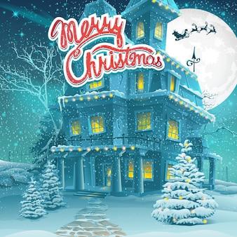 Ilustracja kreskówka wesołych świąt. kartka z życzeniami. wiadomość wesołych świąt.