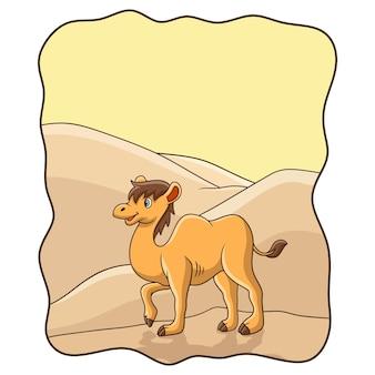 Ilustracja kreskówka wielbłąd spacerujący po pustyni